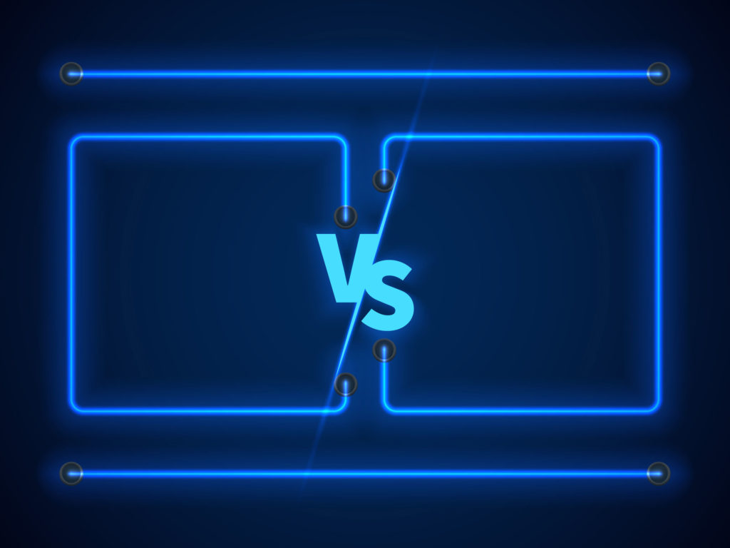 versus screen with blue neon frames and vs letters for learning vs education concept